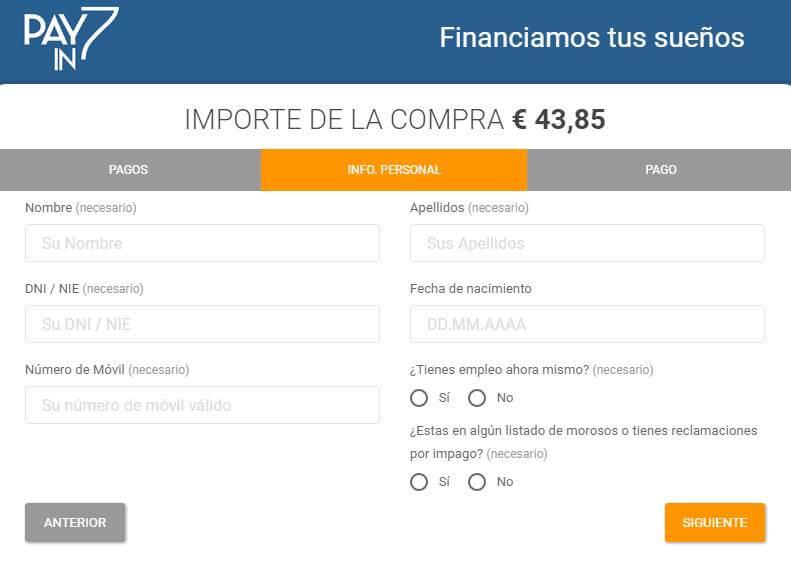 Formulario para financiación